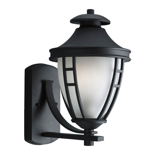 Progress Lighting Outdoor Wall Light with White Glass in Black Finish P5494-31