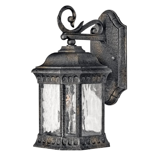 Hinkley Outdoor Wall Light with Clear Glass in Black Granite Finish 1720BG