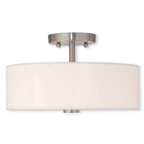 Livex Lighting Brushed Nickel Semi-Flush Light with White Drum Shade 51053-91