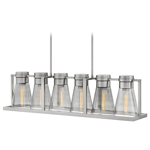 Hinkley Hinkley Refinery 6-Light Brushed Nickel Chandelier with Smoked Glass 63306BN-SM