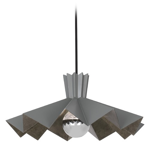Robert Abbey Lighting Robert Abbey Lighting Rico Espinet Bat Matte Charcoal Painted Pendant Light with Abstract Shade GRY69