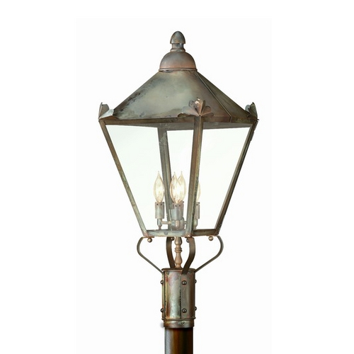 Troy Lighting Post Light with Clear Glass in Charred Iron Finish P8947CI
