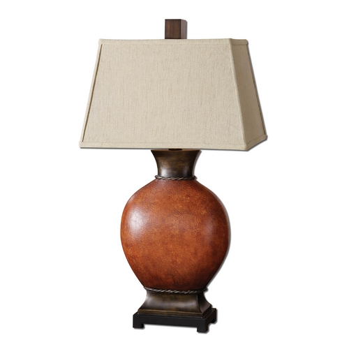 Uttermost Lighting Table Lamp with Beige / Cream Shade in Dark Red Finish 26517
