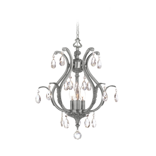 Crystorama Lighting Crystal Mini-Chandelier in Pewter Finish 5560-PW-CL-MWP