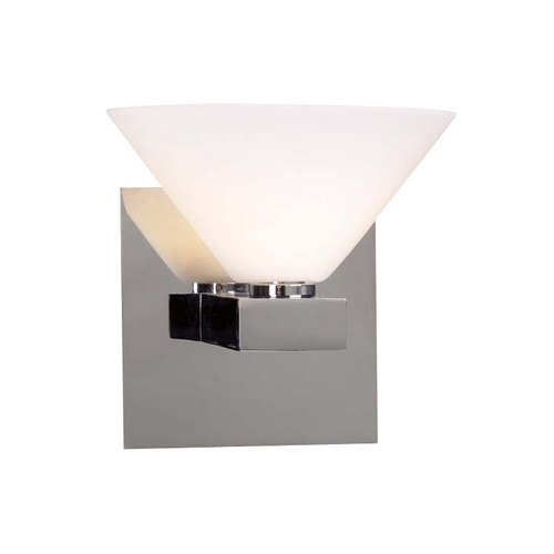 PLC Lighting Modern Sconce Wall Light with White Glass in Polished Chrome Finish 541 PC
