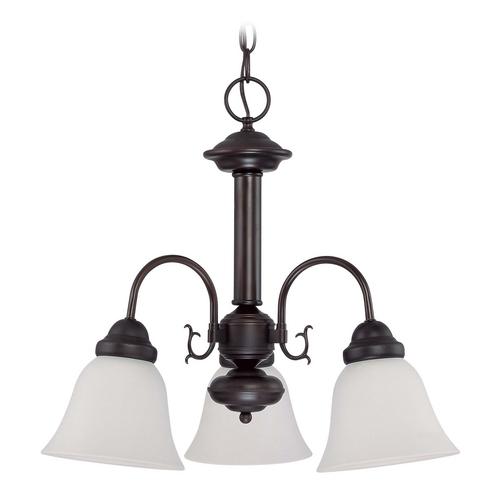 Nuvo Lighting Mini-Chandelier with White Glass in Mahogany Bronze Finish 60/3142