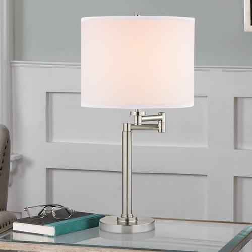 Design Classics Lighting Swing Arm Table Lamp with White Linen Lamp Shade 1902-09 SH9554