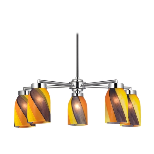 Design Classics Lighting Modern Chandelier with Art Glass in Polished Chrome Finish 590-26 GL1015D
