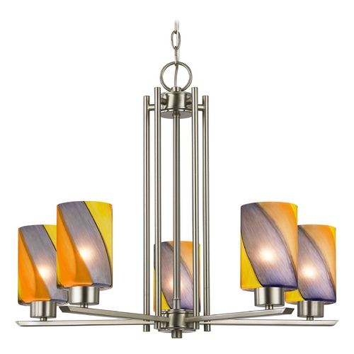 Design Classics Lighting Modern Chandelier with Multi-Color Glass in Satin Nickel Finish 1120-1-09 GL1015C