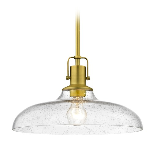 Design Classics Lighting Seeded Glass Farmhouse Brass Pendant Light 14-Inch Wide 1762-12 G1784-CS