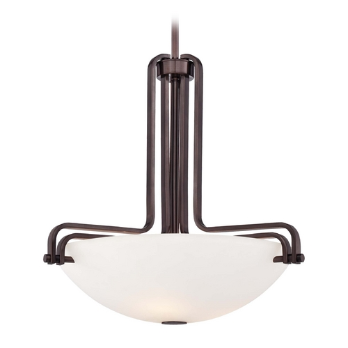 Metropolitan Lighting Pendant Light with White Glass in Industrial Bronze Finish N6623-590