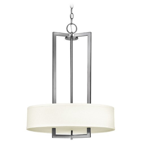Hinkley Hinkley Hampton Antique Nickel LED Pendant Light with Drum Shade 3203AN-LED