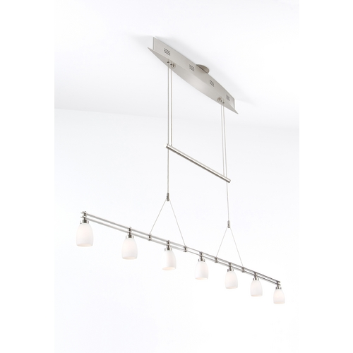 Holtkoetter Lighting Holtkoetter Modern Low Voltage Pendant Light with White Glass in Satin Nickel Finish 5517 SN G5000