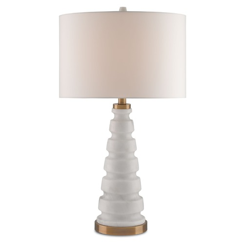 Currey and Company Lighting Currey and Company Gracewood White/coffee Bronze Table Lamp with Drum Shade 6223