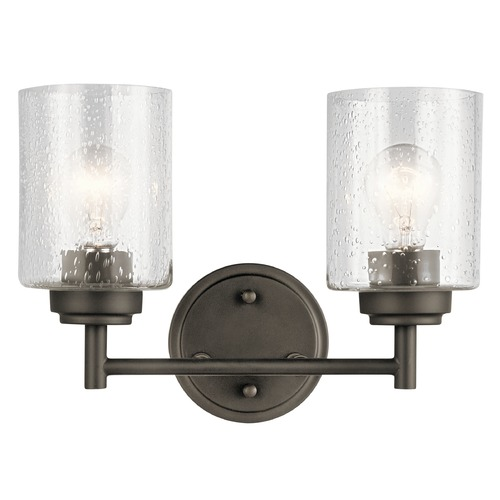Kichler Lighting Seeded Glass Bathroom Light Olde Bronze Winslow by Kichler Lighting 45885OZ