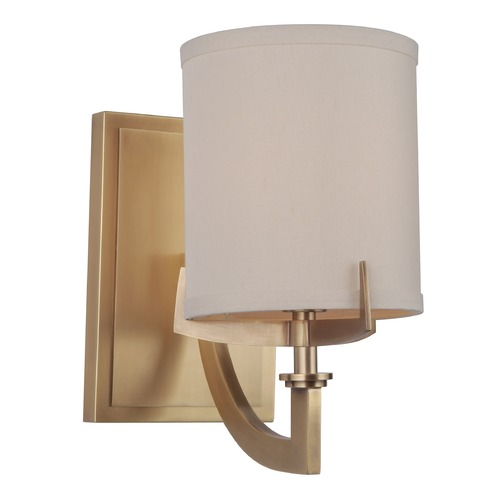 Craftmade Lighting Craftmade Vintage Brass Sconce with Ecru Linen Shade 48361-VB