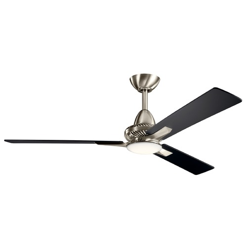 Kichler Lighting Kosmus Brushed Stainless Steel LED 52-Inch Ceiling Fan with Light 3000K 300031BSS