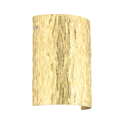 Besa Lighting Modern Sconce Wall Light with Gold Glass in Satin Nickel Finish 7090GF-SN