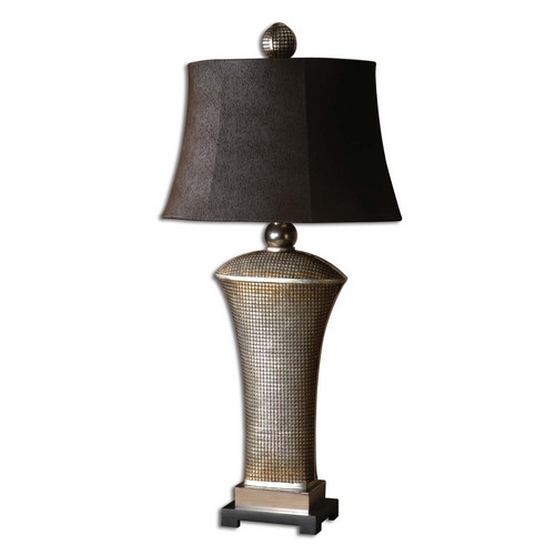 Uttermost Lighting Table Lamp with Brown Shade in Silver Champagne Leaf Finish 27950-1