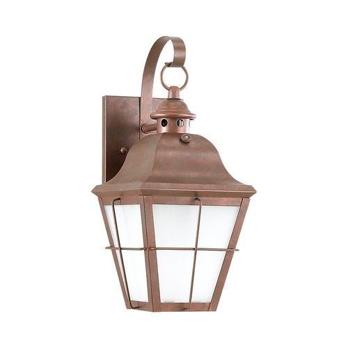 Sea Gull Lighting Outdoor Wall Light with White Glass in Weathered Copper Finish 89062BLE-44