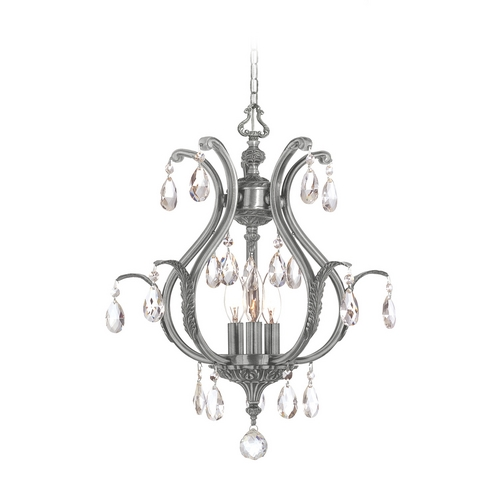 Crystorama Lighting Crystal Pendant Light in Pewter Finish 5560-PW-CL-SAQ