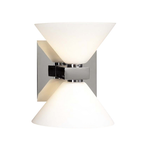 PLC Lighting Modern Sconce Wall Light with White Glass in Polished Chrome Finish 540 PC