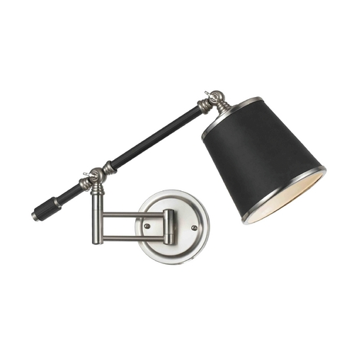 AF Lighting Swing Arm Wall Lamp with Black Shade in Oil Rubbed Bronze Finish 8302-1W