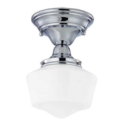 Design Classics Lighting 6-Inch Schoolhouse Ceiling Light in Chrome Finish FCS-26 / GF6