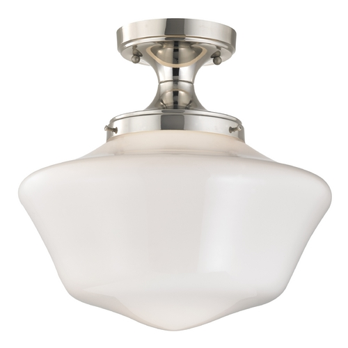 Design Classics Lighting 14-Inch Schoolhouse Ceiling Light in Polished Nickel Finish FES-15/ GA14