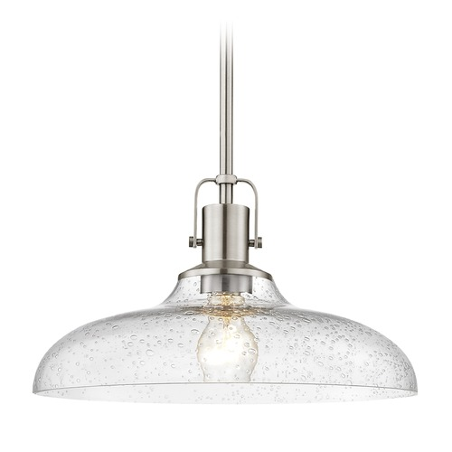 Design Classics Lighting Satin Nickel Pendant Light Seeded Glass 14-Inch Wide 1762-09 G1784-CS