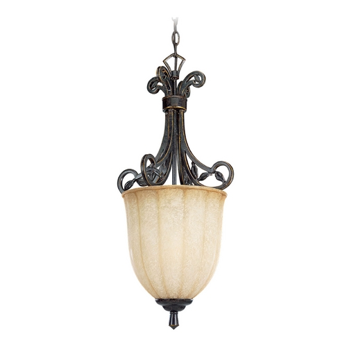 Progress Lighting Progress Pendant Light with Beige Glass in Espresso Finish P3684-84