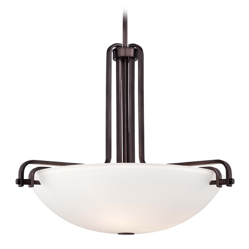 Metropolitan Lighting Pendant Light with White Glass in Industrial Bronze Finish N6624-590