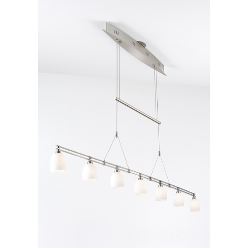 Holtkoetter Lighting Holtkoetter Modern Low Voltage Pendant Light with White Glass in Satin Nickel Finish 5517 SN G5001