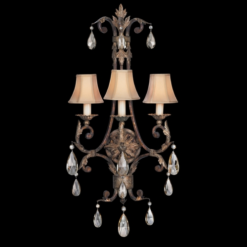 Fine Art Lamps Fine Art Lamps Stile Bellagio Tortoised Leather Crackle with Stained Silver Leaf Accents Sconce 227150ST