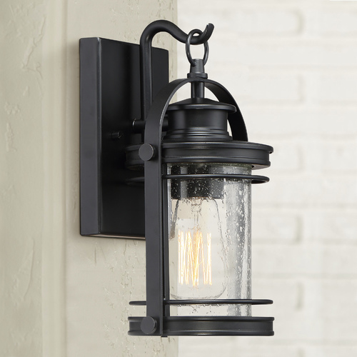 Quoizel Lighting Seeded Glass Outdoor Wall Light Black Quoizel Lighting BKR8406K