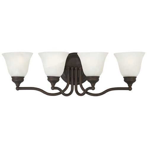 Feiss Lighting Bathroom Light with Alabaster Glass in Oil Rubbed Bronze Finish VS6704-ORB