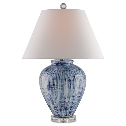 Currey and Company Lighting Currey and Company Malaprop Blue/white Table Lamp with Coolie Shade 6224