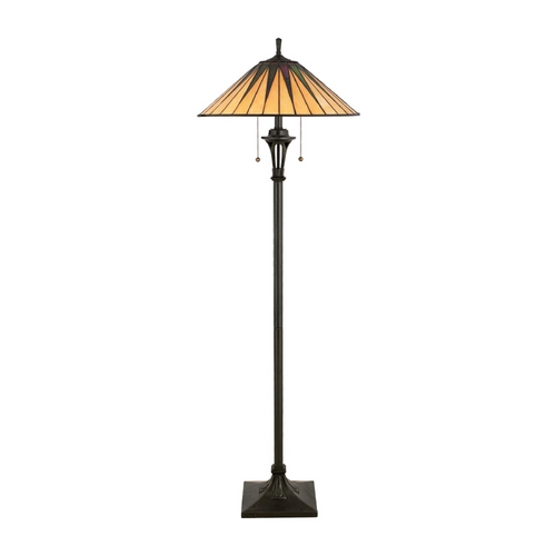 Quoizel Lighting Floor Lamp with Art Glass in Vintage Bronze Finish TF9397VB