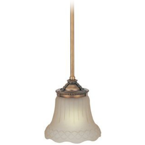 Lite Source Lighting Mini-Pendant Light with Amber Glass C71202