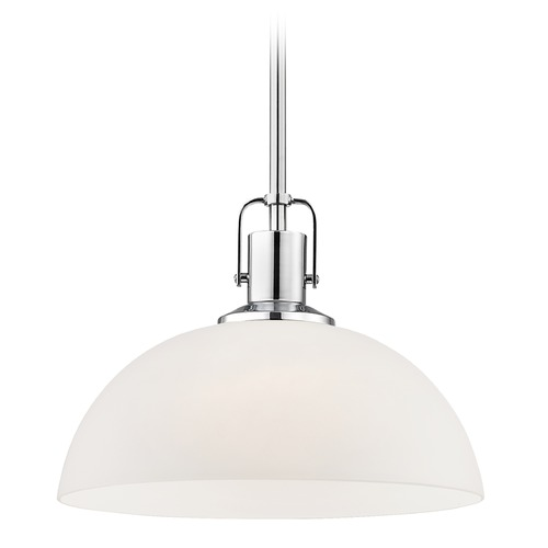 Design Classics Lighting Nautical Chrome Pendant Light with White Glass 13-Inch Wide 1762-26 G1785-WH