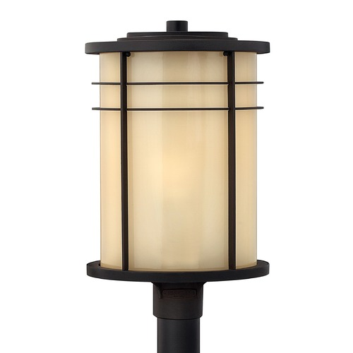 Hinkley Lighting Post Light with Yellow Glass in Museum Bronze Finish 1121MR
