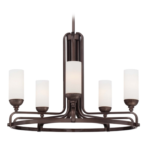 Metropolitan Lighting Chandelier with White Glass in Industrial Bronze Finish N6625-590