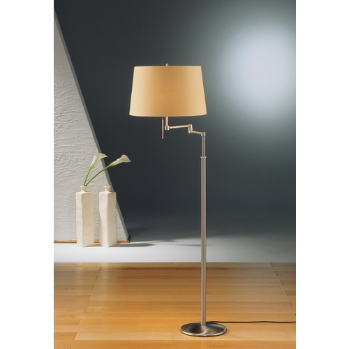 Holtkoetter Lighting Holtkoetter Modern Swing Arm Lamp with Beige / Cream Shades in Satin Nickel Finish 2541 SN KPRG