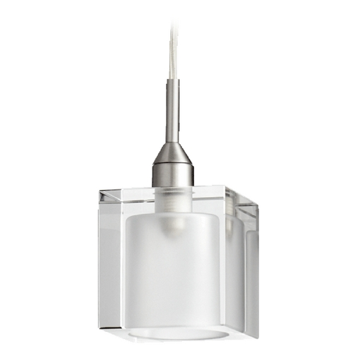 Quorum Lighting Quorum Lighting Satin Nickel Mini-Pendant Light with Square Shade 1361-65