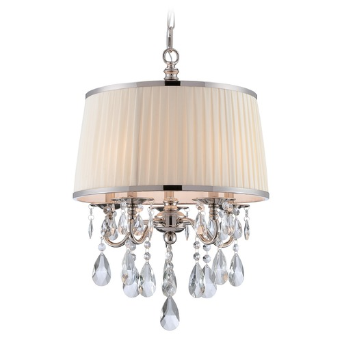 Lite Source Lighting Lite Source Valentine Chrome Pendant Light with Drum Shade C71310