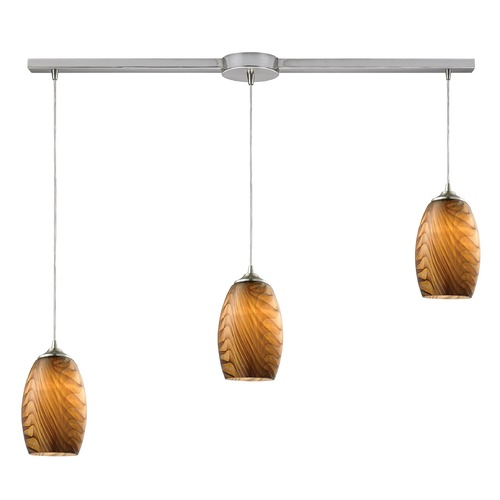 Elk Lighting Elk Lighting Tidewaters Satin Nickel Multi-Light Pendant with Bowl / Dome Shade 31630/3L