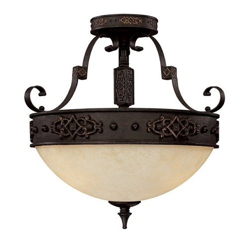 Capital Lighting Capital Lighting River Crest Rustic Iron Semi-Flushmount Light 3603RI