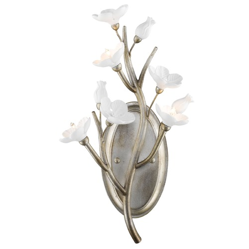 Golden Lighting Golden Lighting Aiyana Silver Leaf Sconce 9942-WSC SL