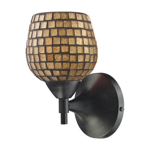 Elk Lighting Elk Lighting Art Glass Sconce Wall Light in Dark Rust Finish 10150/1DR-GLD