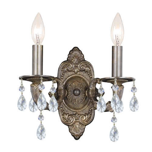 Crystorama Lighting Crystal Sconce Wall Light in Venetian Bronze Finish 5022-VB-CL-SAQ